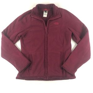 NORTH FACE Burgundy Fitted Fleece Lined Jacket S